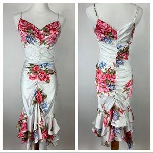 Betsey Johnson Vtg Ruched Flora Dress XS S